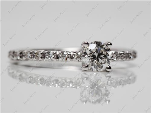 White Gold 0.40 Round cut Pave Diamond Ring