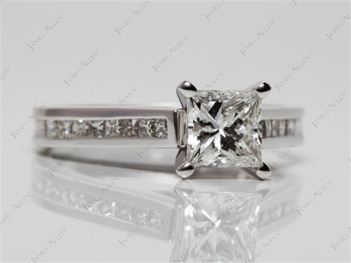 White Gold 1.01 Princess cut Channel Engagement Rings