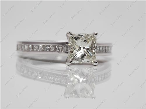 White Gold 1.21 Princess cut Channel Set Rings