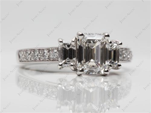 Platinum 1.19 Emerald cut Engagement Rings With Sidestones
