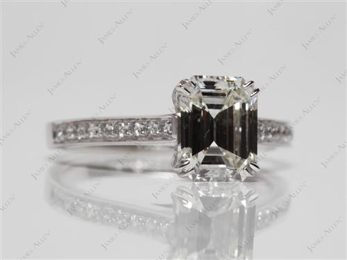 White Gold 1.57 Emerald cut Diamond Rings