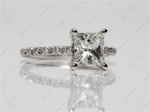 Platinum 1.30 Princess cut Engagement Rings Pave