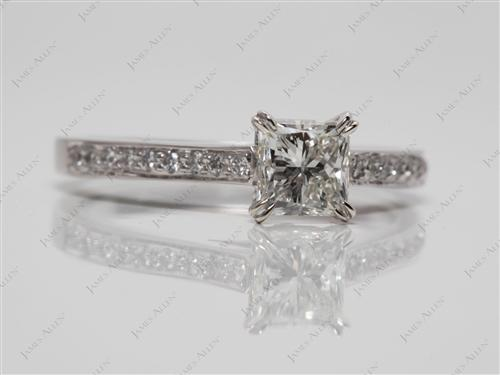 White Gold 0.80 Princess cut Pave Engagement Ring