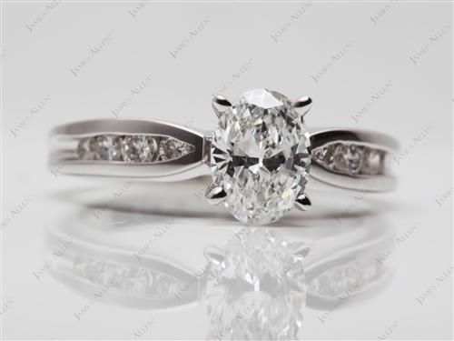 White Gold 0.97 Oval cut Channel Engagement Rings
