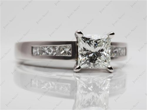 Platinum 1.26 Princess cut Engagement Rings With Side Stones