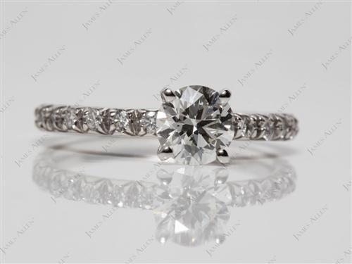 Platinum 0.80 Round cut Engagement Rings