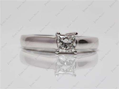 White Gold 0.56 Princess cut Solitaire Engagement Rings