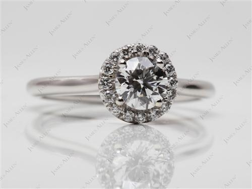 Platinum 0.51 Round cut Pave Engagement Ring