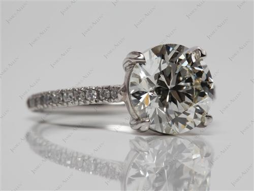 Platinum 2.45 Round cut Micro Pave Engagement Rings