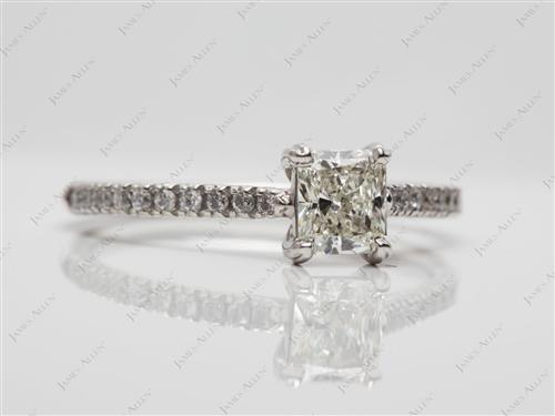 Platinum 0.53 Radiant cut Pave Engagement Ring