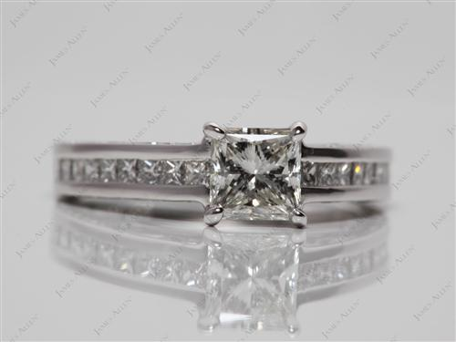 White Gold 0.72 Princess cut Diamond Channel Ring