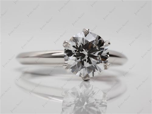 Platinum 1.40 Round cut Solitaire Diamond Rings