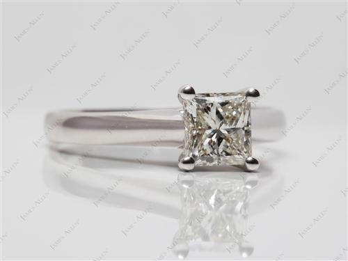 White Gold 1.05 Princess cut Solitaire Ring