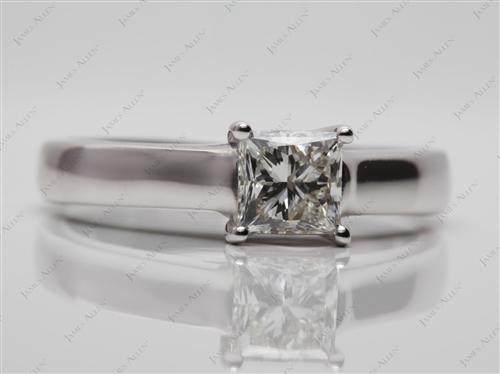 White Gold 0.80 Princess cut Diamond Solitaire Engagement Ring