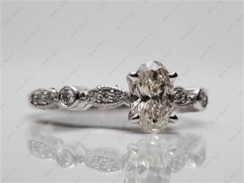 White Gold 0.75 Oval cut Side Stone Engagement Rings