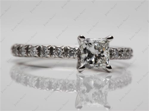 Platinum 0.72 Princess cut Pave Ring Settings