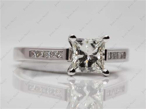 White Gold 1.01 Princess cut Diamond Channel Ring