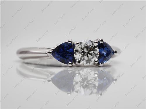White Gold 0.50 Round cut Gemstone Rings