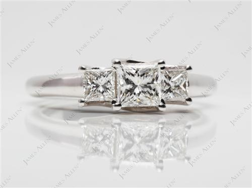 White Gold 0.71 Princess cut Three Stones Diamonds Rings