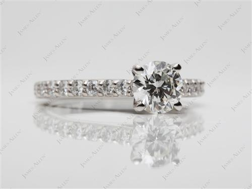 Platinum 0.90 Round cut Diamond Rings