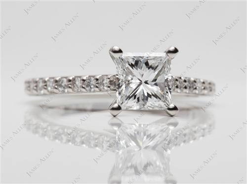 Platinum 1.00 Princess cut Engagement Ring Side Stones