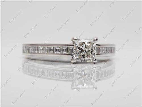 Platinum 0.72 Princess cut Channel Set Diamond Engagement Ring