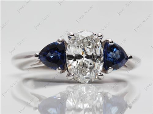 White Gold 1.03 Oval cut Diamond And Gemstone Rings