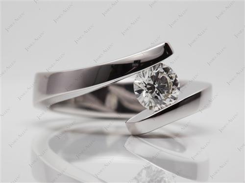 White Gold 0.74 Round cut Tension Mount Engagement rings