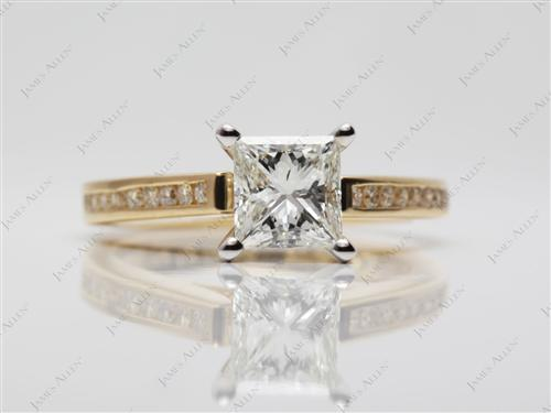 Gold 1.07 Princess cut Channel Setting Engagement Ring