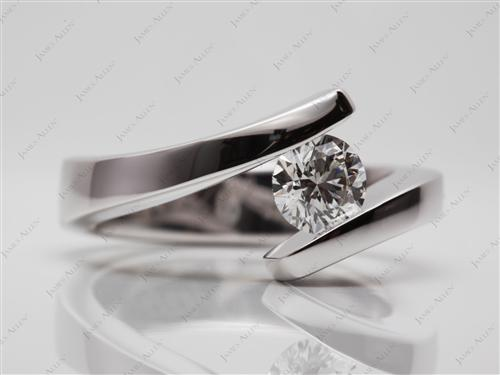 White Gold 0.74 Round cut Tension Set Engagement Rings