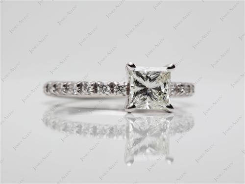 White Gold 1.03 Princess cut Diamond Ring