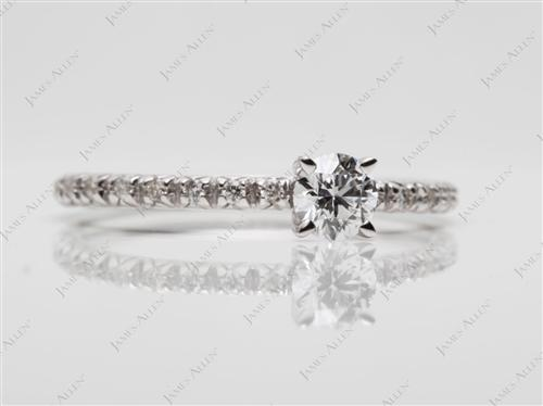 White Gold 0.30 Round cut Pave Ring Setting