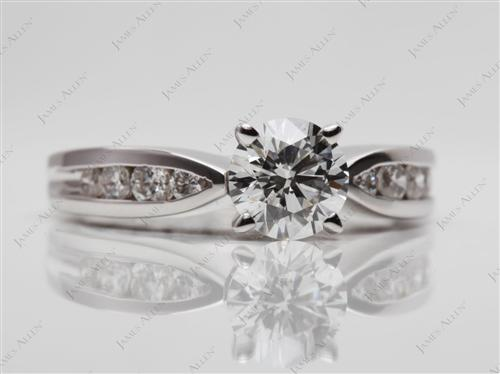 White Gold 0.79 Round cut Diamond Channel Rings