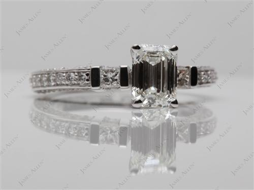 White Gold 1.30 Emerald cut Pave Ring