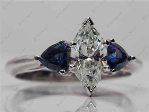 White Gold 1.13 Marquise cut Gemstone Diamond Ring
