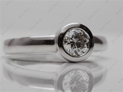 White Gold 0.67 Round cut Engagement Ring