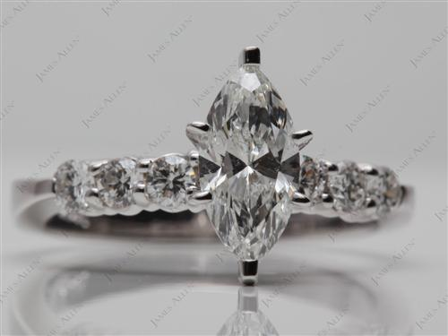 White Gold 1.01 Marquise cut Engagement Rings Side Stones