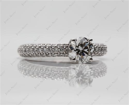 White Gold 0.76 Round cut Micro Pave Rings