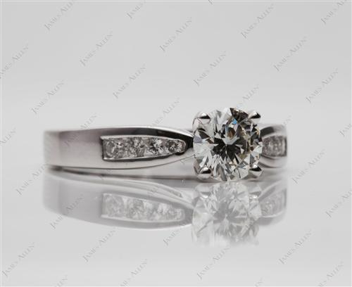 White Gold 0.75 Round cut Channel Cut Ring