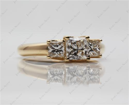 Gold 0.71 Princess cut Three Stones Diamonds Rings