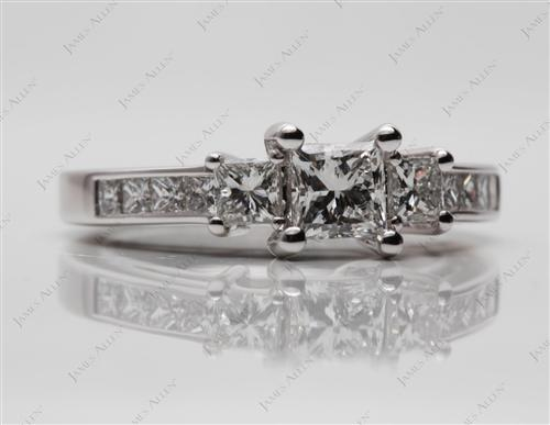 White Gold 0.52 Princess cut Engagement Ring Side Stones