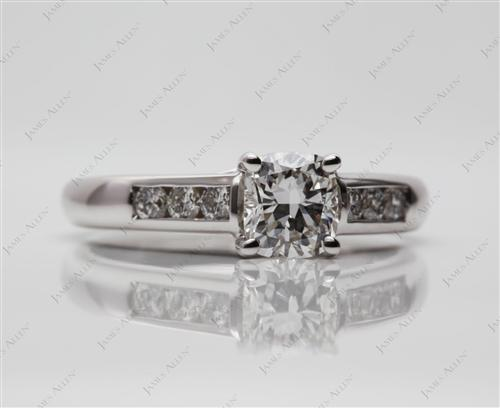White Gold 0.95 Cushion cut Channel Set Eternity Rings