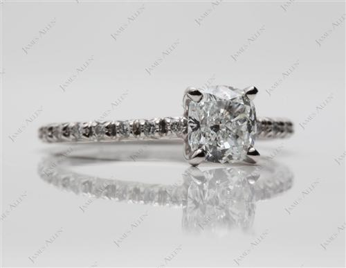 Platinum 1.01 Cushion cut Pave Rings