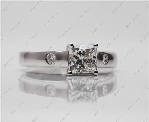 White Gold 0.95 Princess cut Diamond Solitaire Ring Settings