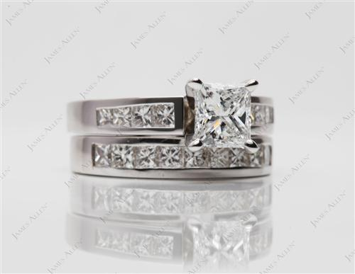 White Gold 0.90 Princess cut Bridal Wedding Ring Sets