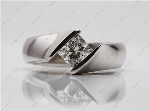 Platinum 1.08 Princess cut Diamond Rings