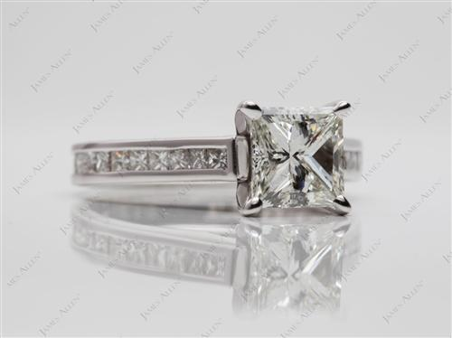 White Gold 1.51 Princess cut Channel Setting Engagement Rings