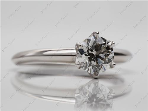 Platinum 0.72 Round cut Engagement Ring