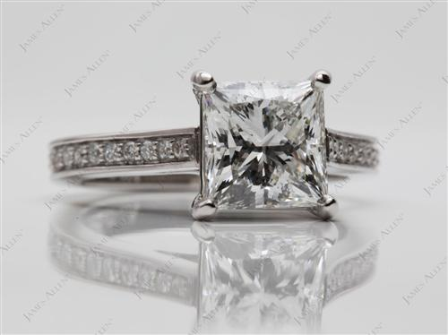 Platinum 2.36 Princess cut Micro Pave Rings