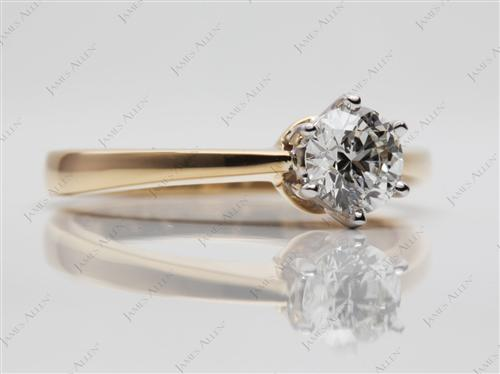 Gold 0.72 Round cut Solitaire Engagement Rings